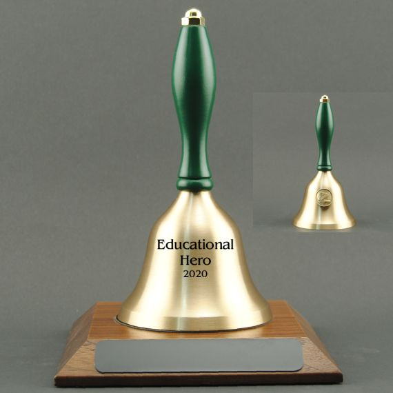 Teacher Recognition Hand Bell with Green Handle, Base & Medallion - Bell Personalization