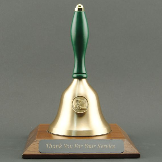 Teacher Recognition Hand Bell with Green Handle, Base & Medallion - Plate Personalization