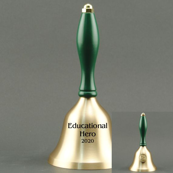Teacher Recognition Hand Bell with Green Handle & Medallion - Bell Personalization