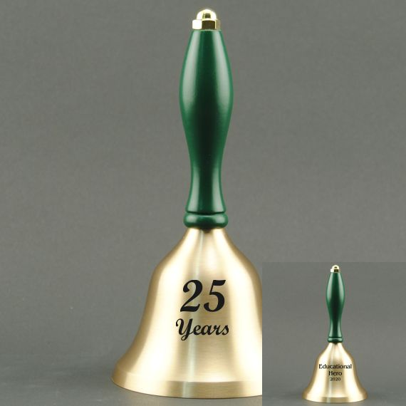 Golden Teacher Recognition Hand Bell with Green Handle - 2 Sided Personalization