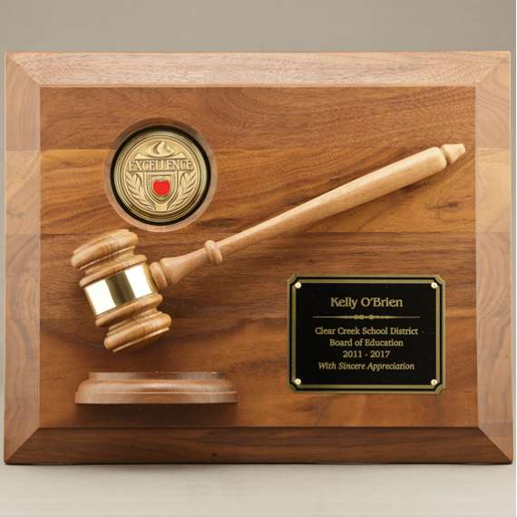School Board Gavel Plaque without Engraving