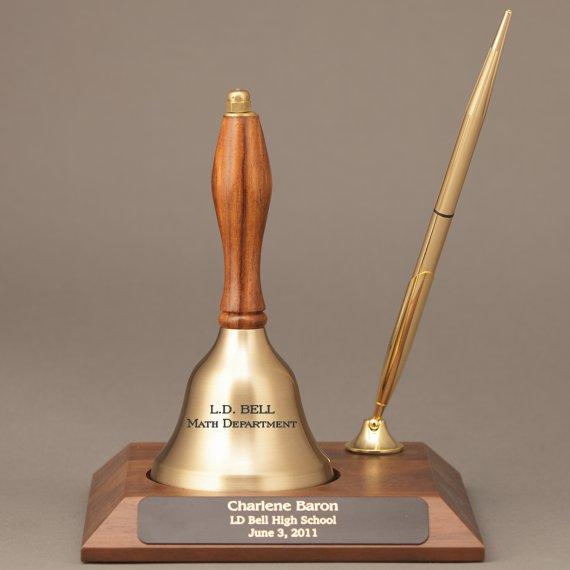 Teacher Appreciation Week Personalized Handbell Pen Desk Award with Engraving on Base