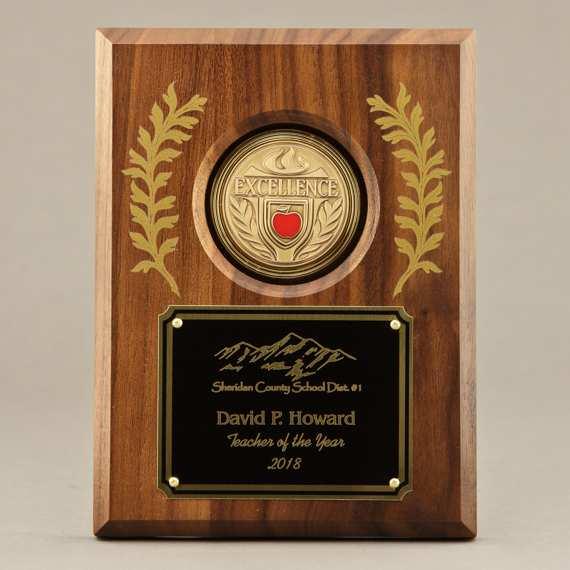 Laurel Leaf Teacher Recognition Plaque - 6x8 - Personalization Included