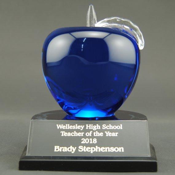 Engraved Red Crystal Apple Trophy on Black Alamar Base for Teacher Appreciation