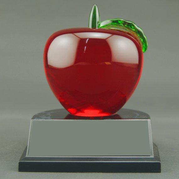 Non-Engraved Red Crystal Apple Trophy on Black Alamar Base for Teacher Recognition