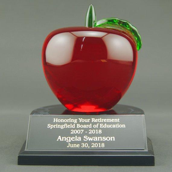 Engraved Red Crystal Apple Trophy on Black Alamar Base for Teacher Recognition