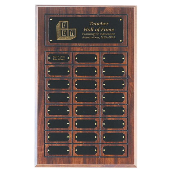 Teacher Hall of Fame Perpetual Plaque Laser Engraved - 24 Plate