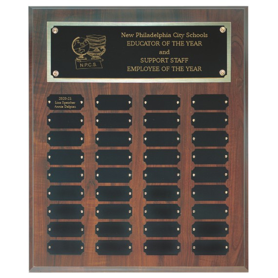 Educator of the Year Perpetual Plaque Laser Engraved - 36 Plate