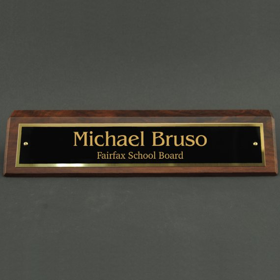 Desk Wedge with Custom Name Plate - Engraved