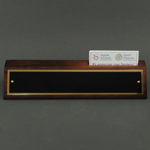 Desk Name Plates with Business Card Holder - Non Engraved