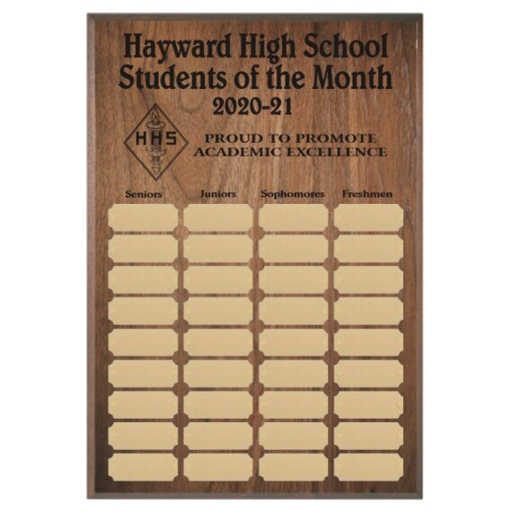 Student of the Month Perpetual Plaque Laser Engraved