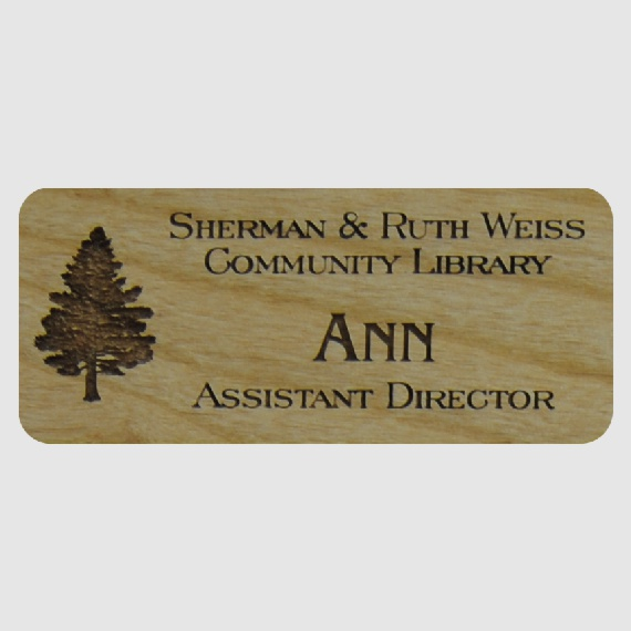 Personalized Wood Name Tags for Work - Businesses and Schools - 1-1/2x3