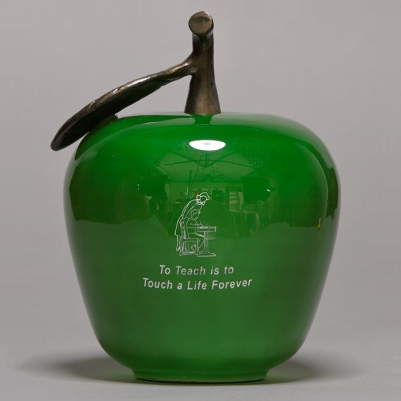 Large Green Glass Apple Handblown Appreciation Gift with To Teach