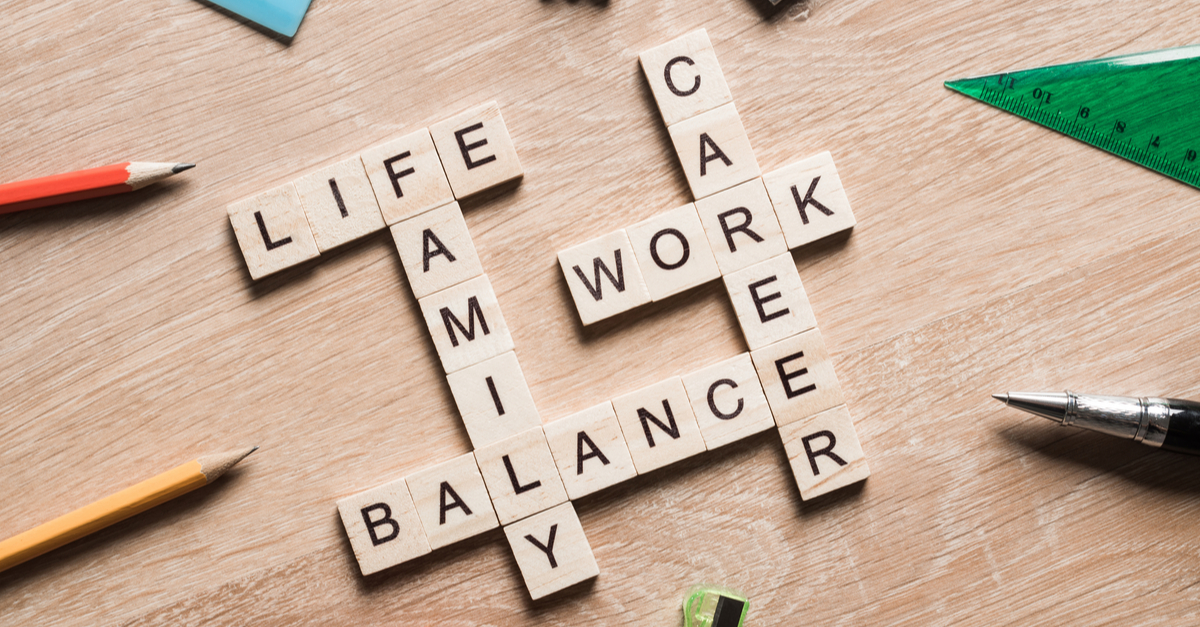 Balance, life, family, career and work in a crossword arrangement.