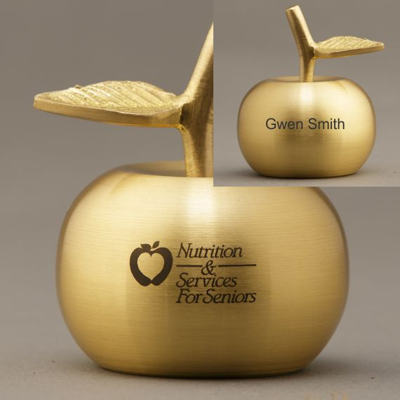 2-Sided Engraving of Gold Apple Bell for Teacher Recognition Idea