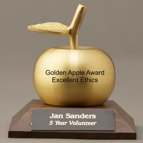 Engraved Gold Apple Bell on Engraved Base for Teacher Appreciation Idea