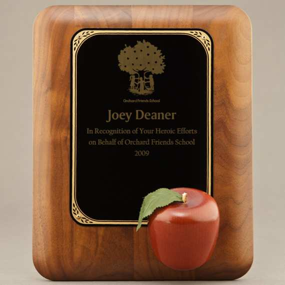 Teacher Retirement plaque with red apple.