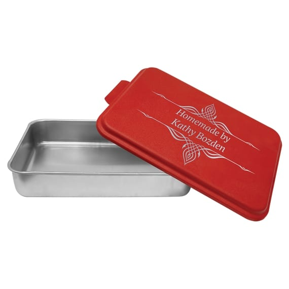 Aluminum Cake Pan with Red Custom Engraved Lid