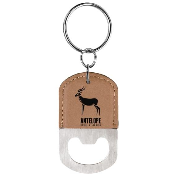 Light Brown Leatherette Keychain with Bottle Opener as Unique Gift