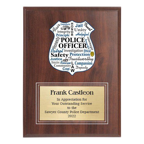 Law Enforcement Appreciation Plaque with engraving